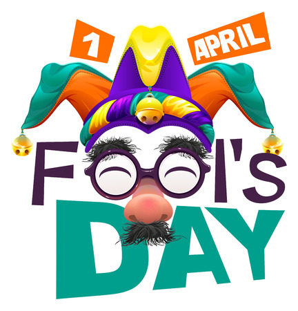 Funny glasses nose. April Fools Day lettering text for greeting card. 1 April Fools Day. Isolated on white vector illustration Illustration