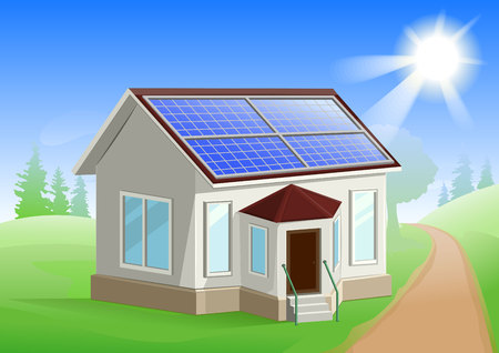 alternative energy sources: Solar energy. Caring about environment. House with solar panels on roof. Alternative energy sources. Illustration in vector format