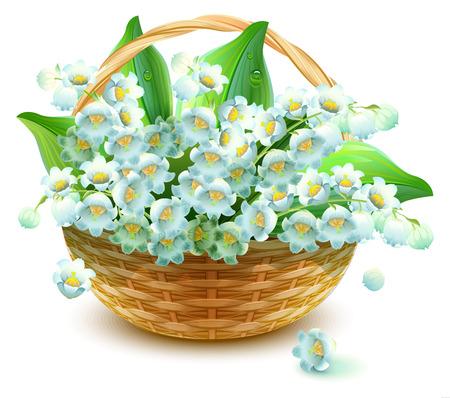 Rieten Mand van bloemen. Bloem lelie vallei. Boeket van lelietje-van-vallei. Geïsoleerd op wit vector illustratie