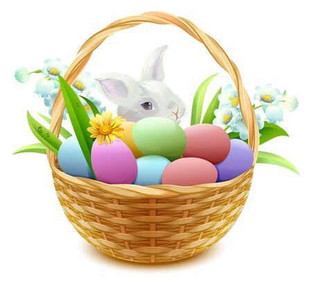 cartoon easter basket: Wicker basket with Easter eggs, flowers and bunny. Isolated on white vector illustration