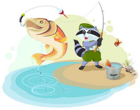 big fish: Raccoon scout fishing. Fisherman caught big fish. Cartoon illustration in vector format Illustration