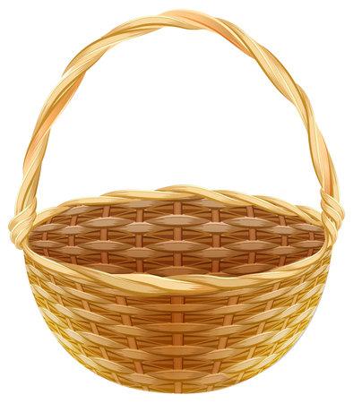 wicker: Empty wicker basket. Wicker basket made of straw. Isolated on white vector illustration