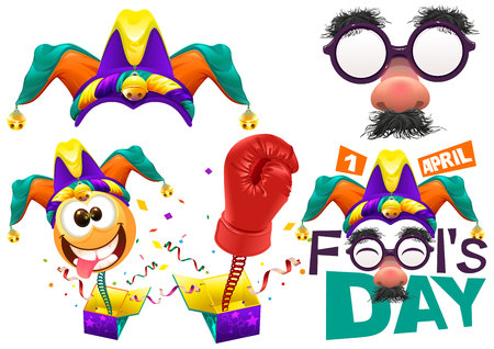tomfool: Fools cap smile on spring. Funny glasses nose. April Fools Day lettering text for greeting card. 1 April Fools Day. Isolated on white vector illustration