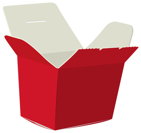 take out food container: Japanese food box. Red open box for noodle. Cardboard box for sushi. Isolated on white vector illustration Illustration