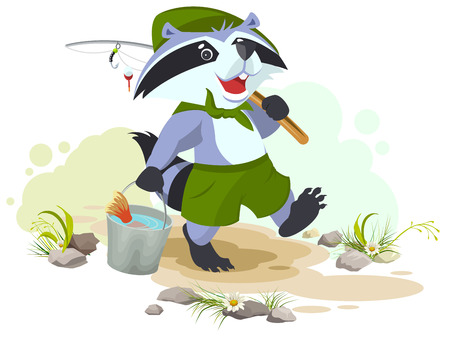 goes: Scout goes fishing. Raccoon scout carries bucket of fish. Fisherman with fishing rod. Cartoon illustration in vector format