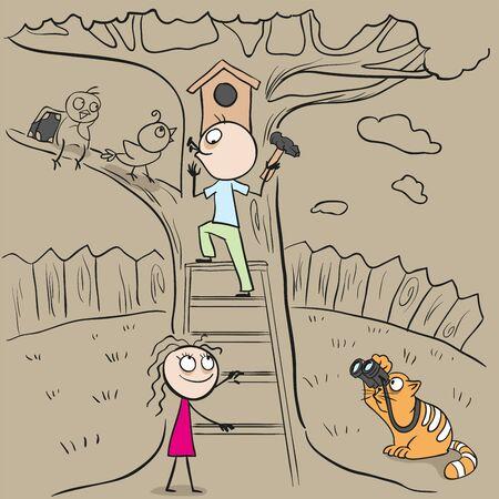 hangs: International Bird Day Man hangs birdhouse in tree. Nesting box. Cartoon illustration in vector format Illustration