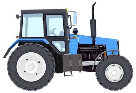 wheeled tractor: Blue new tractor. Agricultural machinery. Wheeled tractor. Isolated on white vector illustration