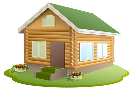 chalet: Modern wooden house. Log house. New home with green roof. Isolated on white vector illustration