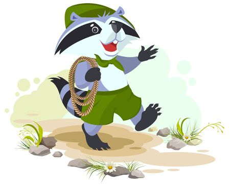 carries: Raccoon scout carries rope. Animal scout with rope. Cartoon illustration in vector format Illustration
