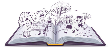 open flame: Open book. Summer rest. Scouts at camp. Cartoon illustration in vector format Illustration