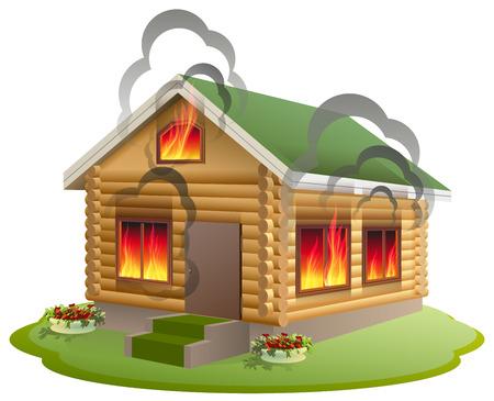 incendio casa: incendio en una casa de madera. la quema de casas de madera. Seguro de propiedad. Aislado en blanco ilustración vectorial Vectores
