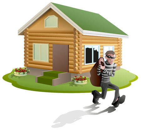 Thief robbed house. Man robber running with bag. Property insurance. Illustration in vector format Stock Illustratie