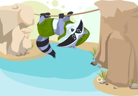 Scout raccoon Mountaineer rope. Scout crossing river on rope. Cartoon illustration in vector format Stock Illustratie