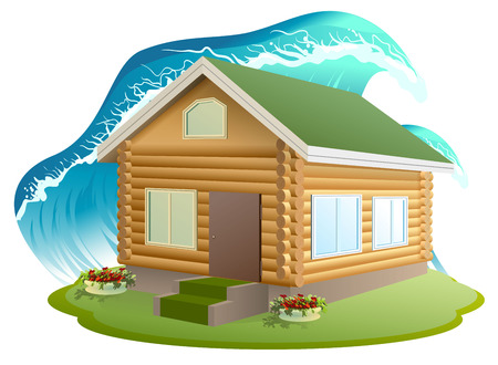 flood damage: Property insurance. Wooden house was flooded with water. Flooding tsunami. Illustration in vector format Illustration
