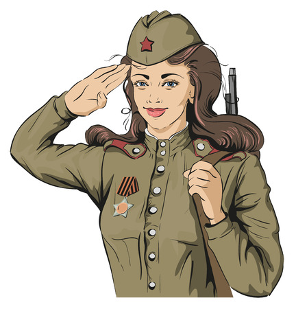 military beret: Russian Girl soldier. Female soldier in retro military uniforms. May 9 Victory Day. Isolated on white vector illustration Illustration