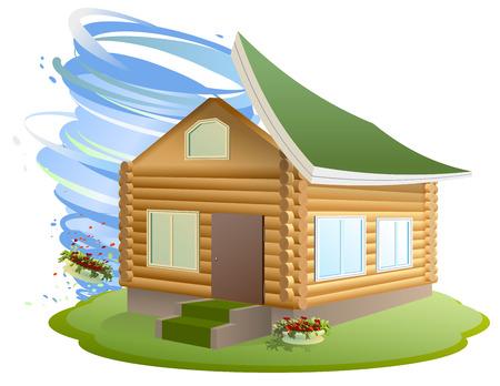 Assicurazione sulla proprietà. L'uragano ha distrutto casa. Illustrazione in formato vettoriale