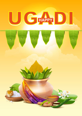 Happy Ugadi. Template greeting card for holiday Ugadi. Gold pot. Illustration in vector format