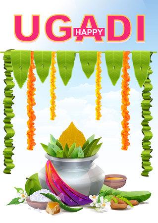 marathi: Happy Ugadi. Template greeting card for holiday Ugadi. Silver pot. Illustration in vector format Illustration