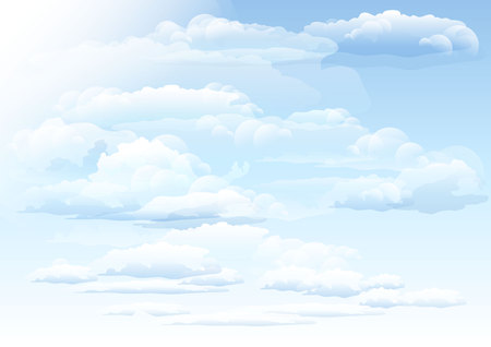 format: White clouds sky background. Illustration in vector format