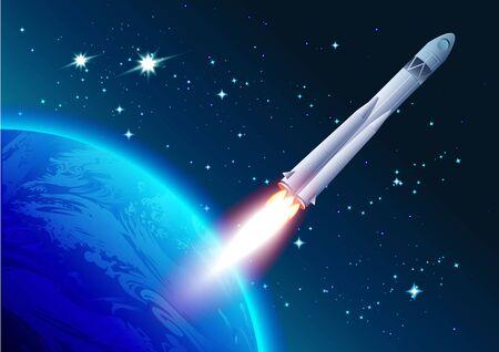 cosmonautics day: Rocket in space. Cosmonautics Day. Spacecraft flies away from earth. Illustration in vector format