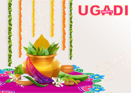 Happy Ugadi. Template greeting card for holiday Ugadi. Gold pot with coconut. Illustration in vector format