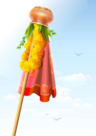 Gudi Padwa. Koperpot en krans. Feestelijke decoraties. Illustratie in vector formaat Stock Illustratie