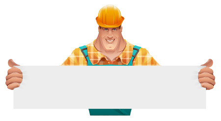 Strong male worker holding blank banner. Man in overalls. Worker in helmet. Cartoon illustration in vector format