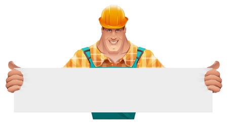 Trabajador masculino fuerte que sostiene la bandera en blanco. El hombre con un mono. Trabajador en el casco. ilustración de dibujos animados en formato vectorial Foto de archivo - 55601598