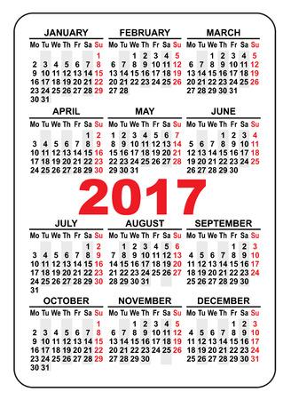 calendario tascabile 2017. Primo giorno Lunedi. Illustrazione in formato vettoriale Vettoriali