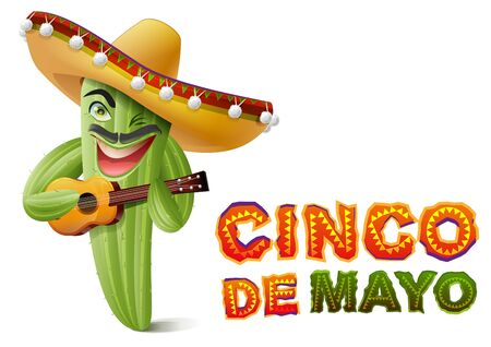 Cinco de Mayo. Mexican cactus in sombrero playing guitar. Greeting card template. Isolated on white vector illustration Illustration