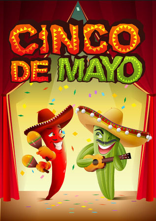 duet: Cinco de Mayo. Mexican cactus in sombrero playing guitar. Greeting card template. Illustration in vector format