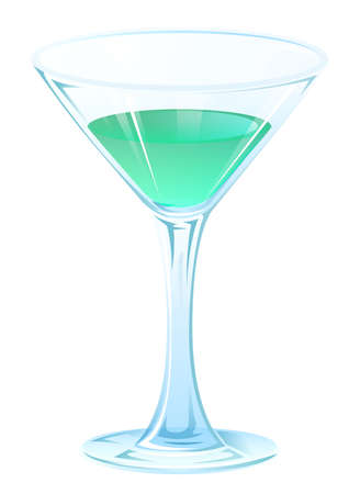 tipple: Blue tipple cocktail in glass goblet on stem. Alcohol strong drink. Isolated on white vector illustration