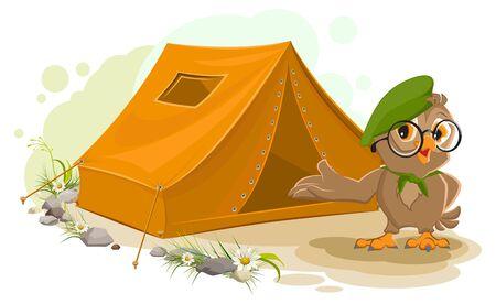 near: Summer holiday camp. Scout owl standing near tent. Owl bird tourist tent set. Camping cartoon illustration Illustration
