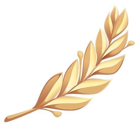 laurel branch: Golden laurel branch. Isolated on white vector illustration
