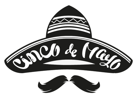 Cinco de Mayo. Mexican wide brimmed hat sombrero. Lettering text header for greeting card. Isolated on white illustration
