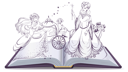 Tale of Cinderella. Open book fantasy tale. Fairy and Cinderella with the glass slipper. Illustration in format