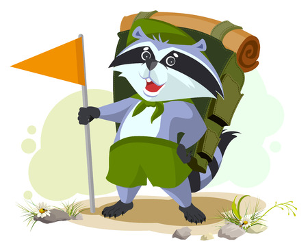 goes: Scout raccoon with backpack goes camping. Summer Camping. Cartoon illustration