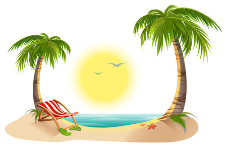 tropics: Beach chaise longue under palm tree. Summer vacation in tropics. Cartoon illustration