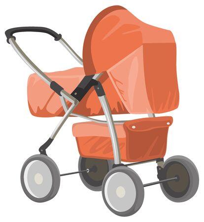 perambulator: Baby carriage. Orange baby pram. Isolated on white illustration