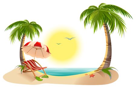 tropics: Beach chaise longue under palm tree. Beach umbrella. Summer vacation in tropics. Cartoon illustration