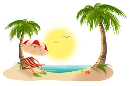 Beach chaise longue under palm tree. Beach umbrella. Summer vacation in tropics. Cartoon illustration