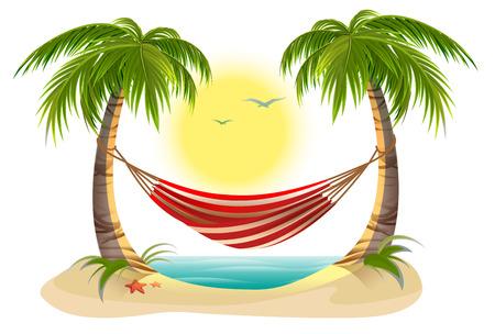海辺での休暇。ヤシの木のハンモック。漫画イラスト