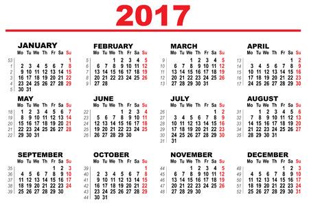Wall Calendar 2017. First day Monday.