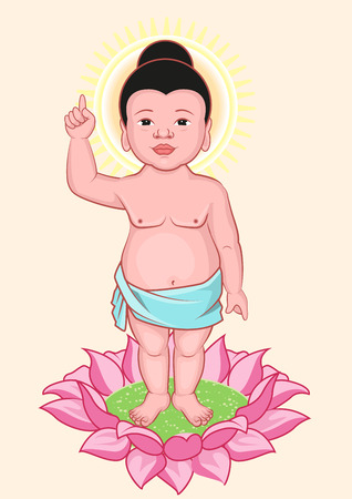 buddha lotus: Buddha Birthday. Little Buddha stands on lotus flower. Illustration