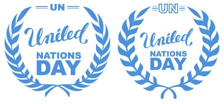 International Day of UN Peacekeepers. Lettering text united nations day. Isolated on white illustration