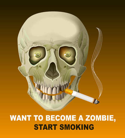harm: Human skull smoking cigarette. Harm of smoking. Illustration in format Illustration