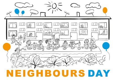 banquet table: Neighbors Day. Neighbors at banquet table in yard. cartoon illustration