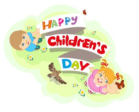 Happy Childrens Day. Boy and girl. Lettering text for greeting card. cartoon illustration