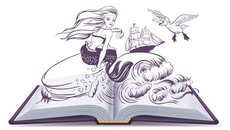 Open boek Verhaal van Mermaid. Reading ontwikkelt verbeelding. Illustratie in vector-formaat Stockfoto - 58321893