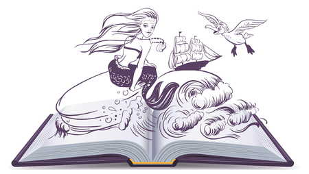 Open book Tale of Mermaid. Reading develops imagination. Illustration in vector format
